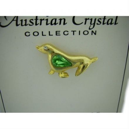 Austrian Green Crystal Pin Badge